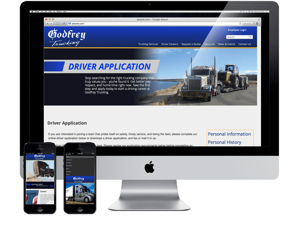 trucking websites with online application