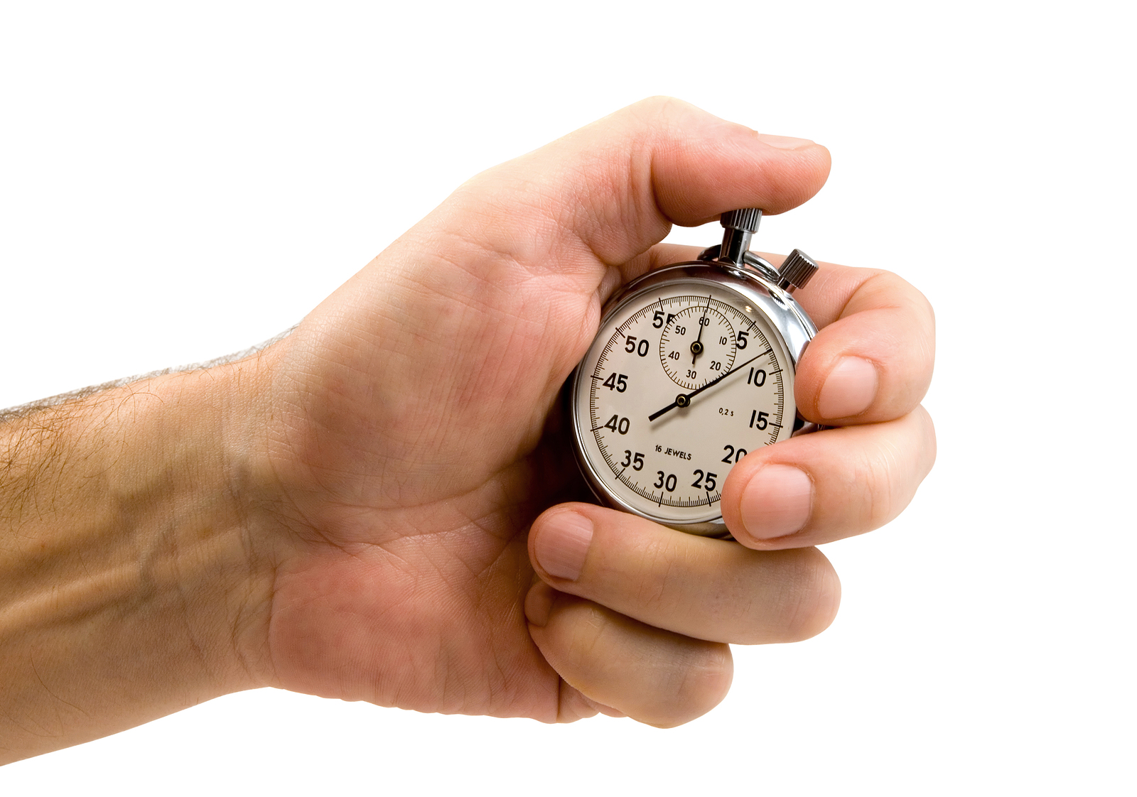 Hand starts stop watch to measure response time