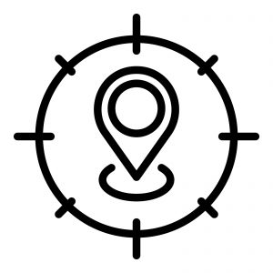 Icon that depicts geofencing for truck driver recruitment.
