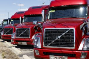 Fleet of red trucks