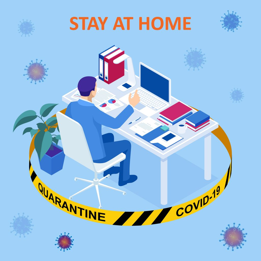 Man working at home, quarantined from the corona virus