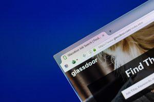 Computer tab open to glassdoor