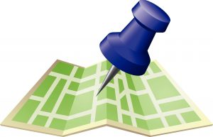 Pushpin on map that symbolizes geofencing for truck driver recruitment