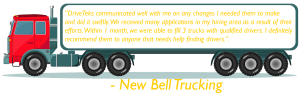 Testimonial from New Bell Trucking on side of semi truck
