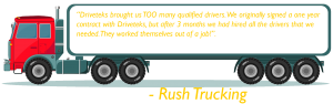 Rush trucking testimonial on the side of semi truck