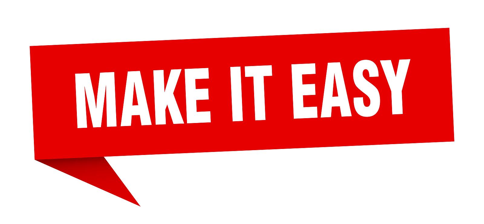 make it easy banner. make it easy speech bubble. make it easy sign