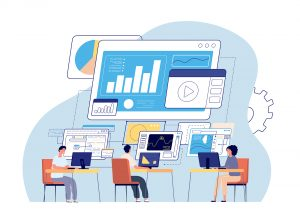 Visual statistics. Data visualization, creative office people and dashboard. Business technology, working programmers vector. Data infographic, digital statistics analysis, dashboard illustration