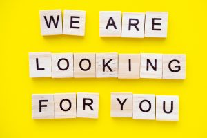 Words We Are Looking For You On Yellow Background. Job Board.