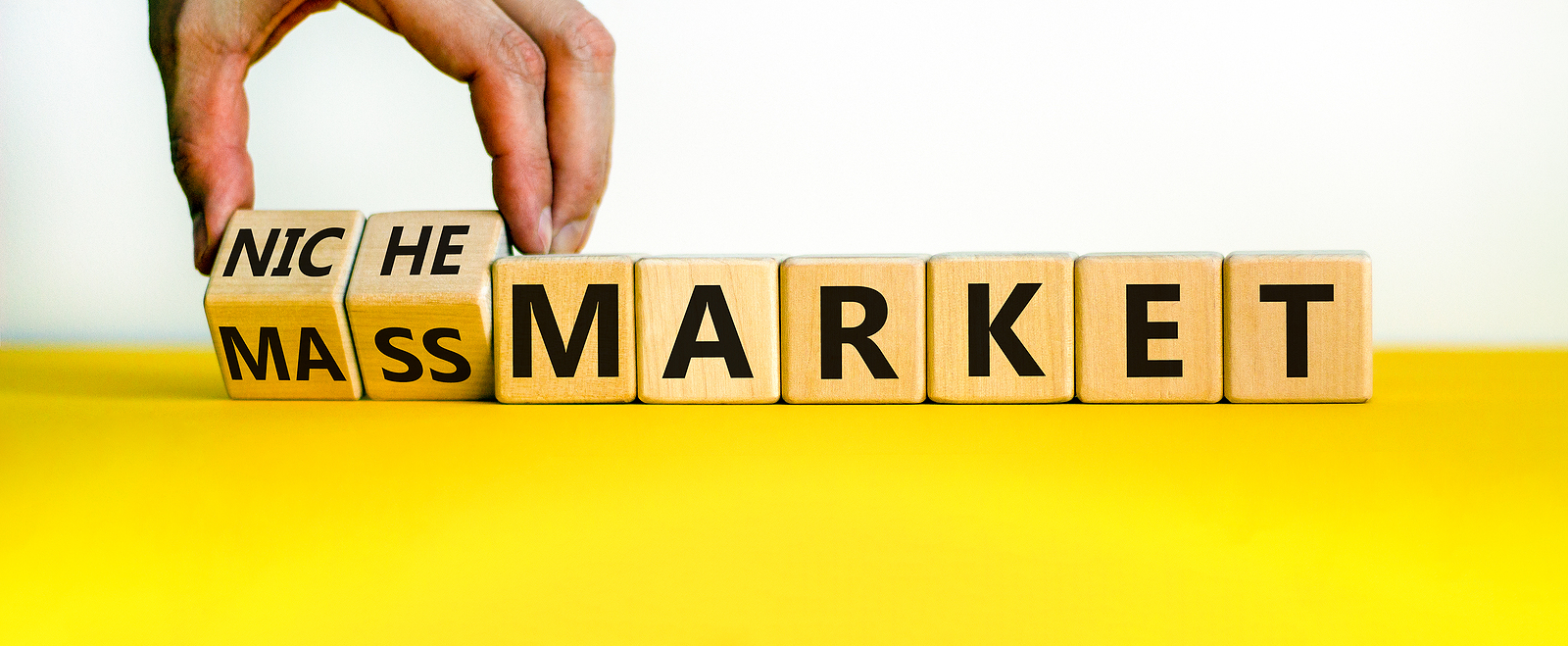 Driver recruiting needs to focus on both niche and mass audiences. Mass or niche market symbol. Businessman flips wooden cubes and changes words 'mass market' to 'niche market'. Beautiful white background, copy space. Business and mass or niche market concept.