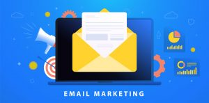 Email Marketing Campaign concept. Digital Inbound advertising (useful newsletter, interesting promotional material) or Outbound (cold emails, spam) advertisement business strategy.