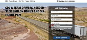 Truck driver recruiting advertisement showing off its sign on bonus